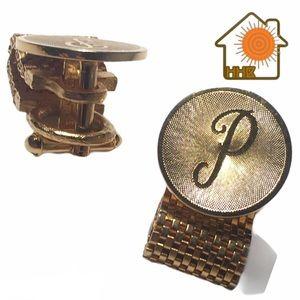 VTG P Monogram Gold Tone Chain Cufflinks